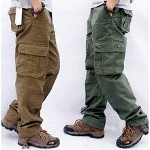 Erkek kargo pantolon erkek rahat çok cepler askeri taktik pantolon erkekler dış giyim düz slacks uzun pantolon büyük boy 42 44