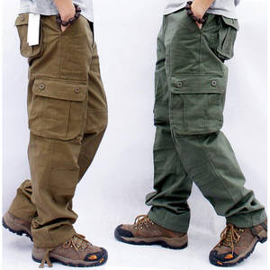 Outwear Cargo-Pants Long-Trousers Multi-Pockets Straight Slacks Military Men's Large-Size