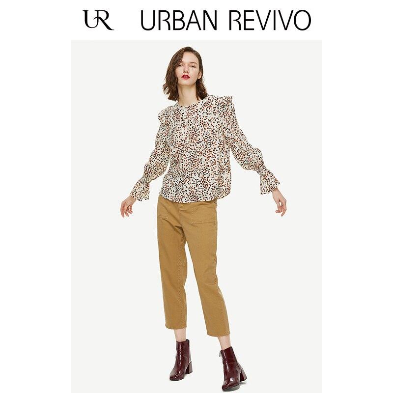 Print Redondo White Nueva Mujeres Primavera Las Imprimir De 2019 Ur Blousewh09s2cn2004 Escote Leopardo c7xOPqwWB8