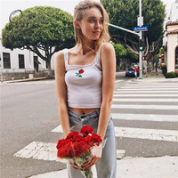 Ordifree 2018 Summer Women Tank Top Floral Embroidery Camisole Sexy Crop Top Tees Embroidered Sleeveless White