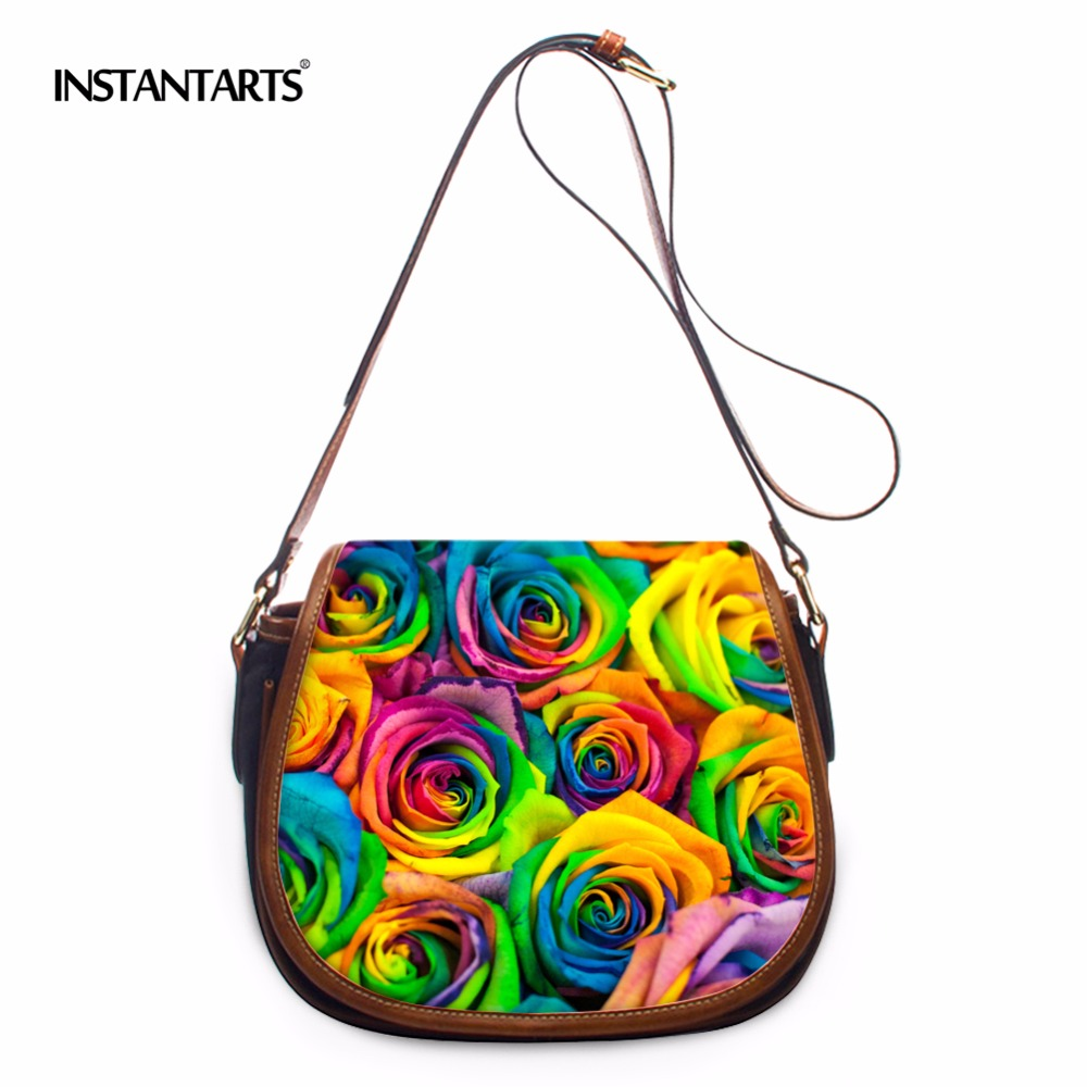 INSTANTARTS Summer Women Messenger Bags Flap Bag Lady PU Leather Floral Printed Crossbody Shoulder Bags Small Female Handbags luxury duplex floor staircase rotating long crystal chandelier modern creative living room lamp villa hall lobby project lamps