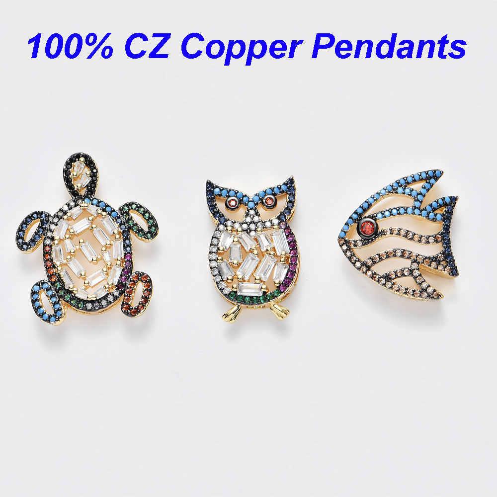 สีสันเต่า Micro Pave CZ จี้ปลา Night Owl Slider Charms Fit 10 มม.DIY สแตนเลสตาข่าย Keeper สร้อยข้อมือ