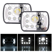 1Pair Chrome Angel eyes 7inch Square light LED Headlights For 1987-1995 Jeep Wrangler YJ,1984-2001 Jeep Cherokee XJ
