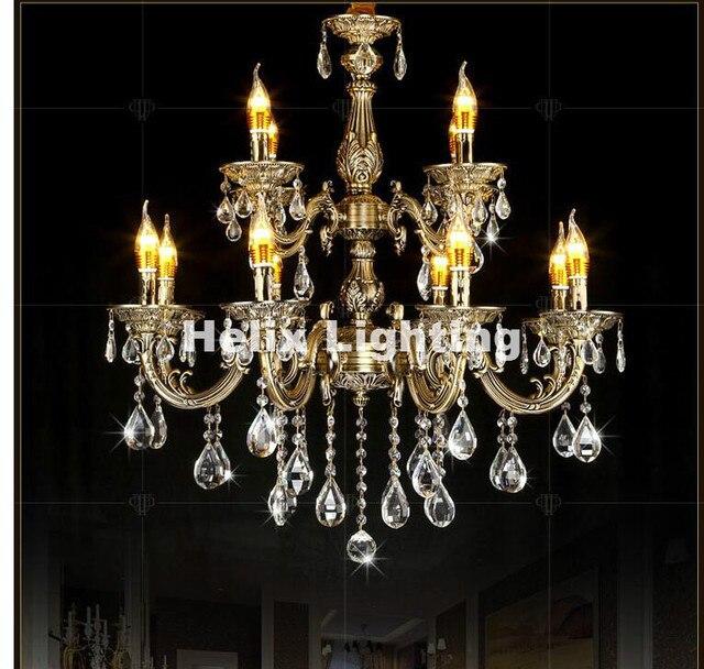 Free Antique Brass Color Crystal Chandelier Lingting Decora Luxurious E14 Ac Lamp Re Suspension