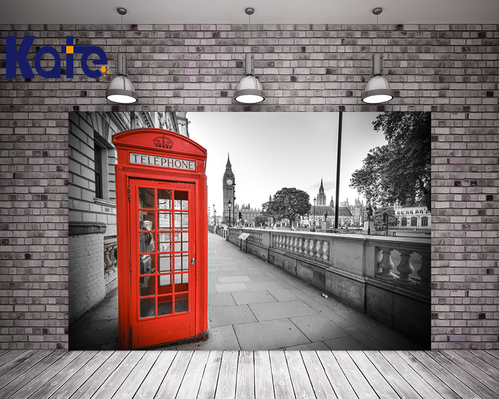 Kate Photography Backdrops Retro Red Telephone Booth Brick Floor Photo Studio Background For Children shengyongbao 300cm 200cm vinyl custom photography backdrops brick wall theme photo studio props photography background brw 12