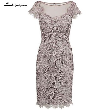 Sheath Beading Grey Lace Mother Of The Bride Dress with Cap Sleeves Evening Dress Formal Wedding lace hook patch pencil dress with sleeves