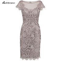 Sheath Beading Grey Lace Mother Of The Bride Dress with Cap Sleeves Evening Dress Formal Wedding