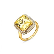 Luxury Solid Silver with Yellow Zirconia in18k Gold Color crystal Zircon moissanite Ring engagement wedding lovers couple