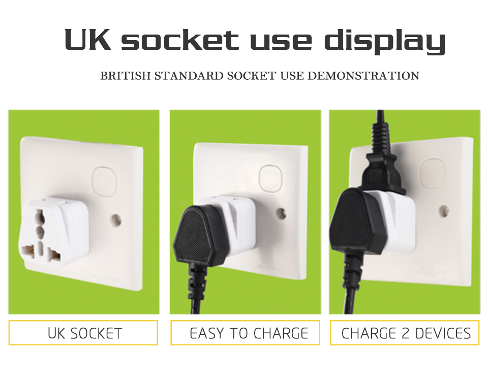 Hot-Sale Universal EU US AU to UK 3 Pin AC Power Socket Plug Travel Charger Adapter Converter 2 Device Charging (4)