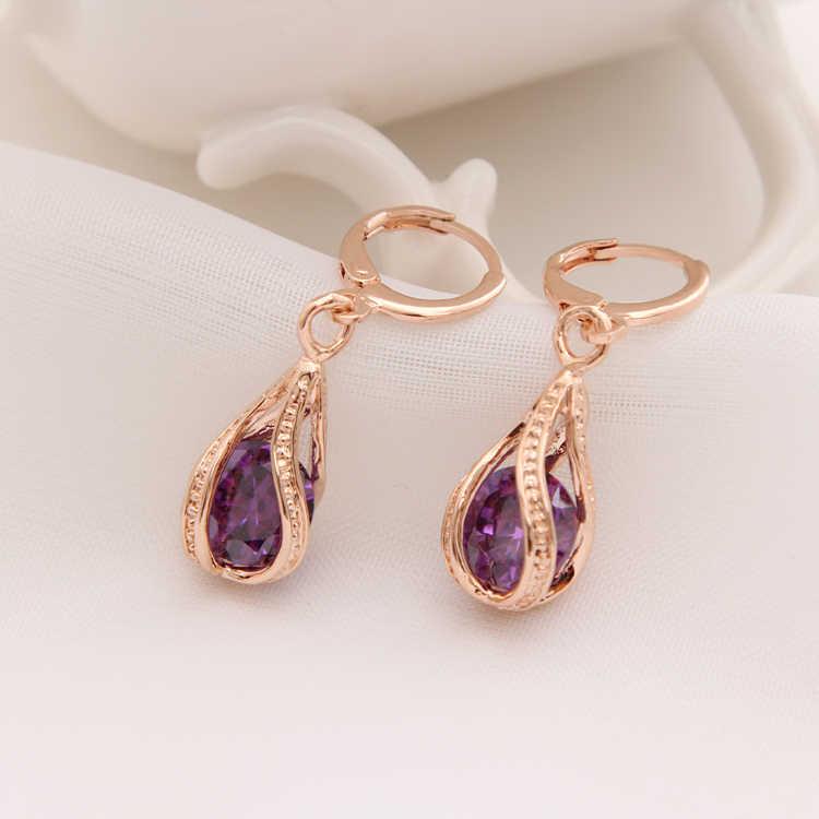 エレガント な紫色の ジルコン ドロップ イヤリング女性の高級ウェディング ドレス アクセサリー最高の ファッション ジュエリー