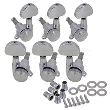 Yibuy 6 x Chrome Plated Guitar Tuning Pegs with Screws Washers Oval Shape 3R3L