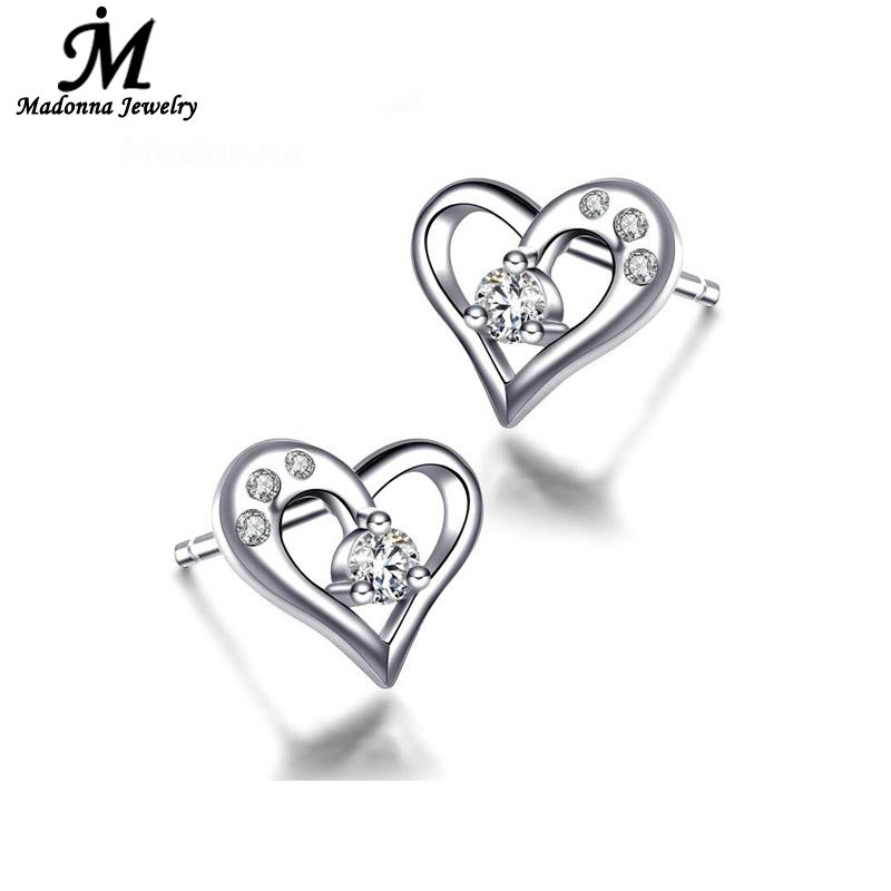 36d4bcd17d717 US $0.99 50% OFF|2018 Fashion Heart shaped Design CZ Inlay silver plated  stud Earrings For women Girls ear Jewellery Wholesale-in Stud Earrings from  ...