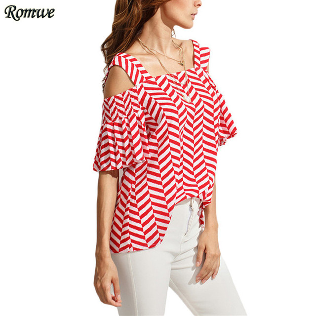 7a97d819849 ROMWE Casual Womens Tops and Blouses For Summer Ladies Short Sleeve Square Collar  Striped Cold Shoulder