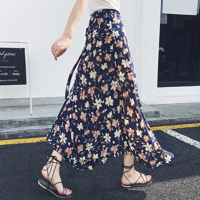 686b685873b7 Korean High Waist Boho Flower Long Skirt Summer Women Split Sexy Bandage Maxi  Skirt Female Chic