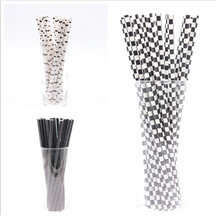 PLAYGUYS 25Pcs/Lot Black White Drinking Paper Straws Wedding Decorations Party Supplies Favor Birthday For Home Disposable Straw