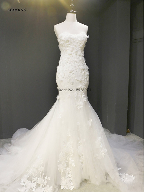 Vestidos De Novia Mermaid Wedding Dresses Sweetheart Sleeveless Bride Wedding Court Train With Lace Beading Flowers
