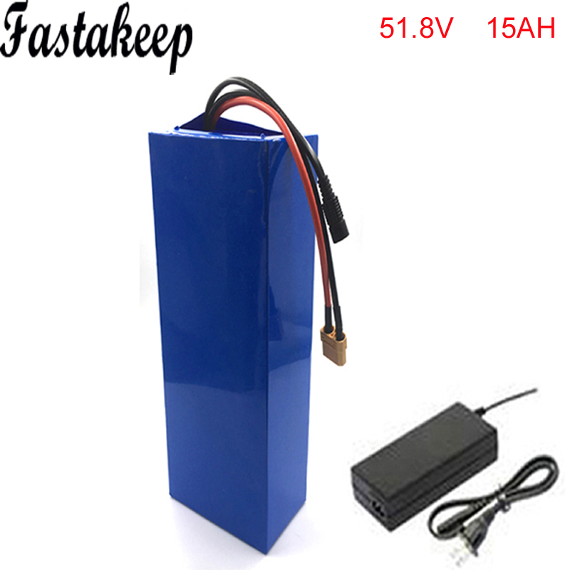 electric bike battery 52v 1500w li-ion battery pack with charger and BMS for 51.8v 15ah lithium battery pack For Samsung cell ebike 24v 52 2ah lithium battery frame triangle li ion battery for pa ncr18650pf cell with free bms and 5a charger