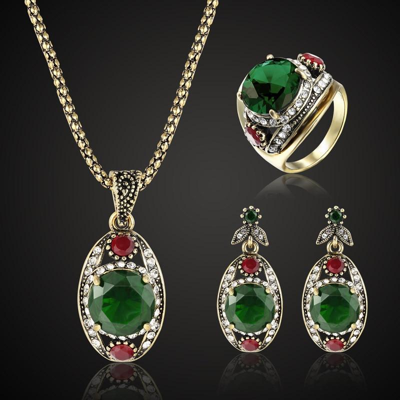 Zlxgirl jewelry Women's Vintage wedding jewelry sets best bridal pendant & earring accessory sets antique gold chain pendant set