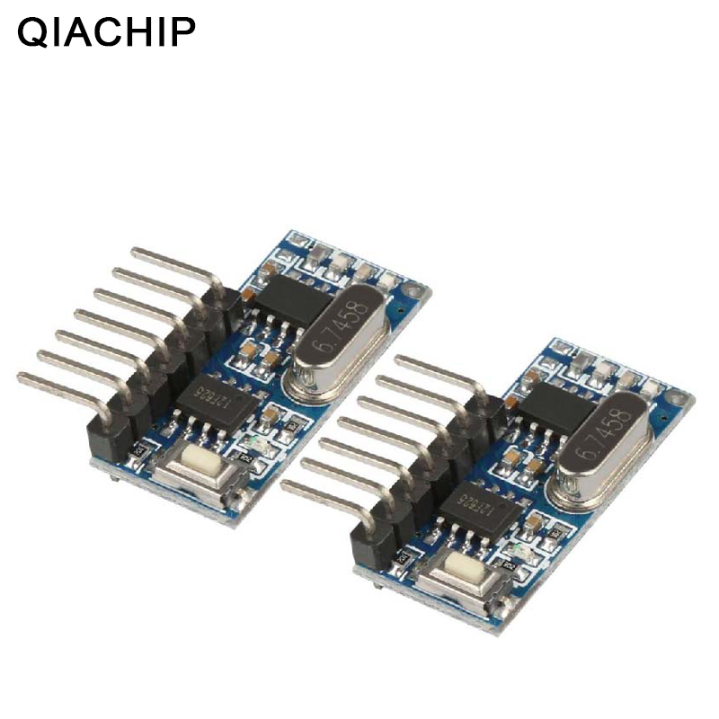 Qiachip 2 pces 433 mhz rf receptor módulo de código decodificador aprendizagem 433 mhz sem fio 4 ch saída para controles remotos 1527 2262 codificação