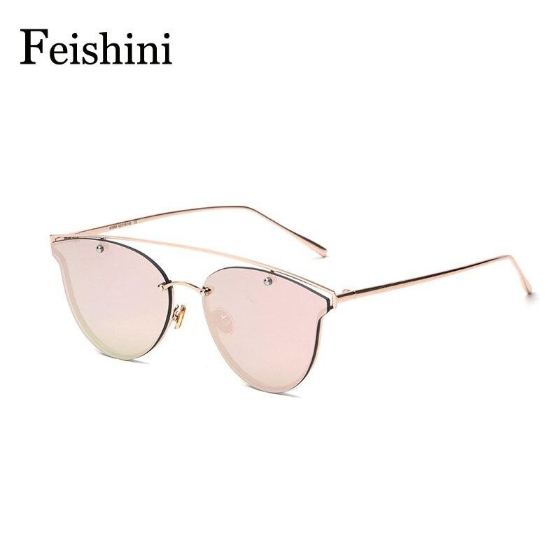 FEISHINI Designer Shop Counters Copper Frame Cat eye Sunglasses Women 2018 UVB Eyewear Summer color Sun glasses Men Mirror