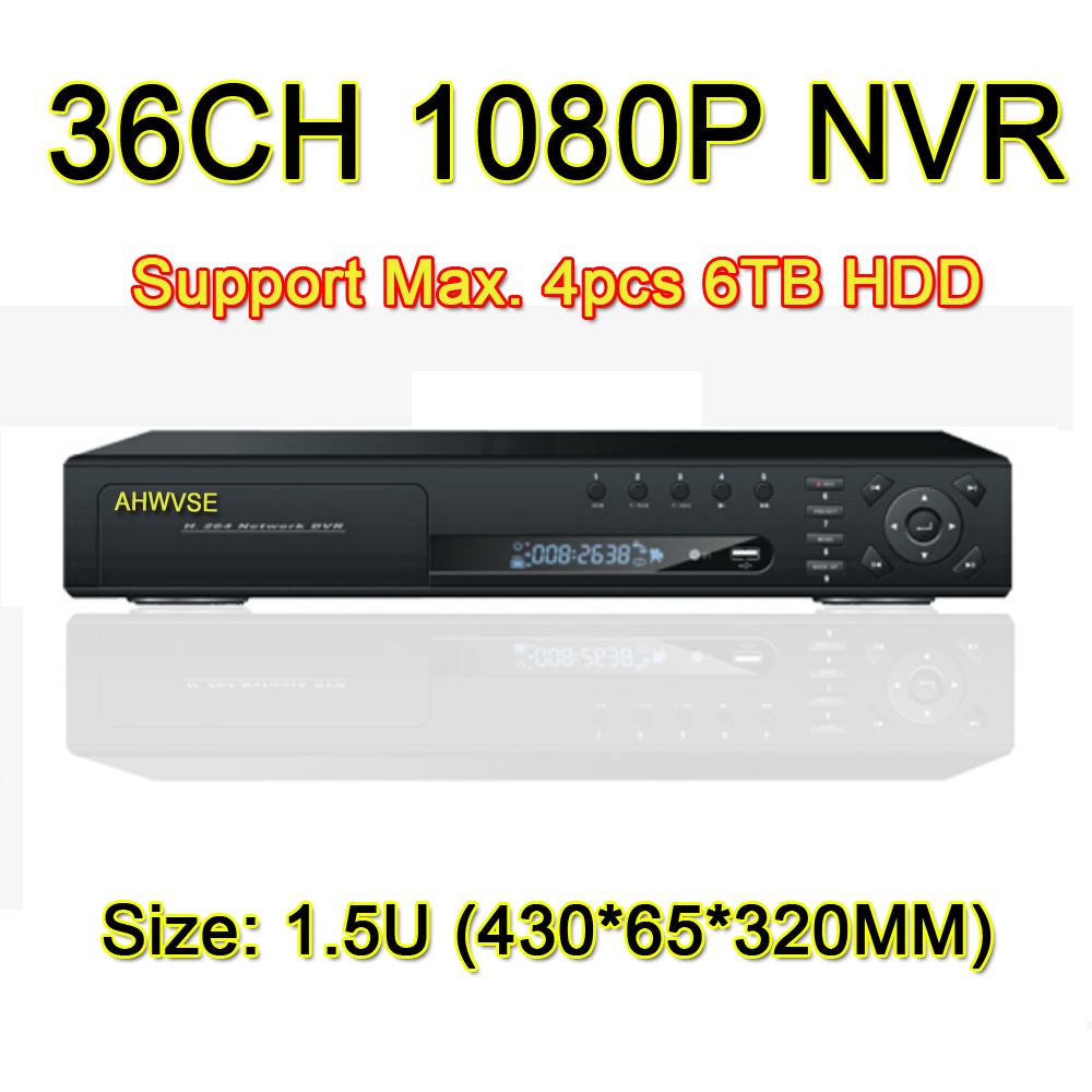 Fast Shipping HD 36 Channel 1080P NVR Network Video Recorder 32CH 2MP H.264 CCTV NVR, Support 4pcs 6TB HDD