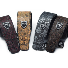 Guitar Strap Embossing PU Leather for Electric Guitar Bass Acoustic Guitarra Folk Guitar Accessories Leather Straps handmade leather guitar bass straps can be customized guitar accessories