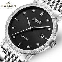 SOLLEN мужская автоматические механические часы ультра-тонкие часы с бриллиантами, весы, металлический ремешок, календарь дисплей, диаметр корпуса 40 мм