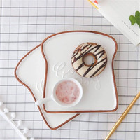 Creative 6 5 Inch Toast Shape Plates Ceramic Dinner Plate Porcelain Food Tray Kitchen Tools Tableware