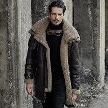 9018ab75749 Chaqueta de cuero genuino de los hombres de piel de oveja de abrigo  coldproof invierno grueso medio-largo abrigos de piel prenda.