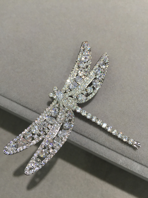 a79894f0e5b7c Dragonfly brooch insect cubic zircon blingbling fashion women jewelry pave  stone brooch pins free shipping top quality -in Brooches from Jewelry & ...