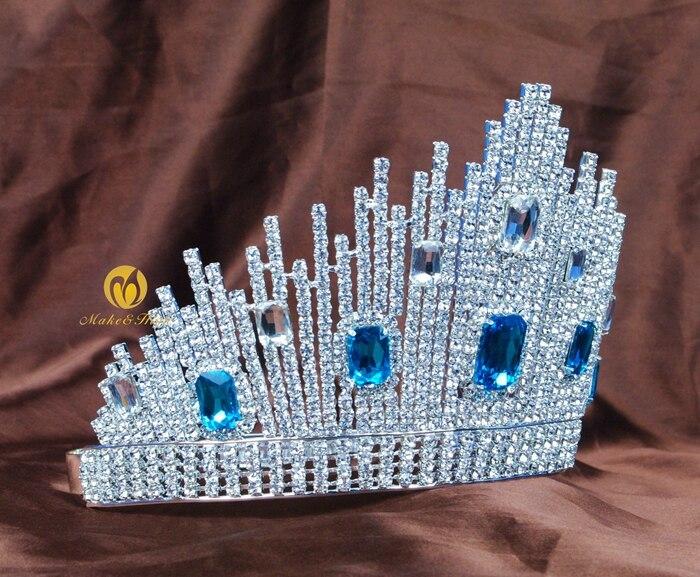 Mavi Kristal Miss Universe Səhifəli Tiaras Böyük Taclar Clear - Moda zərgərlik - Fotoqrafiya 3