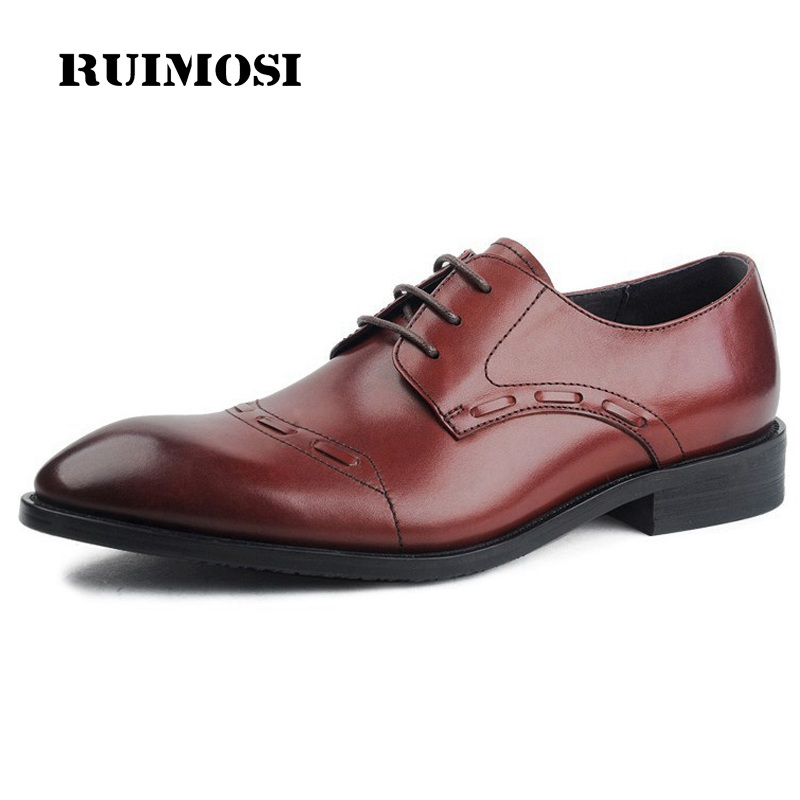RUIMOSI Pointed Toe Cap Top Handmade Man Formal Wedding Dress Shoes Genuine Leather Male Oxfords Derby Men's Bridal Flats EI63