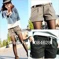 2016 otoño y el invierno de las mujeres turn-up straight lana bootcut pantalones cortos plus large tamaño grande cortocircuitos ocasionales negro gris WL1002
