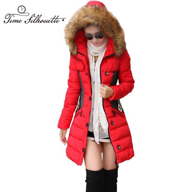 e2548497 € 44.61  Marca nueva chaqueta de Invierno de las mujeres Parka abrigo  Abrigos y Chaquetas de Mujer Invierno 2018 Gran Collar piel capucha ropa ...