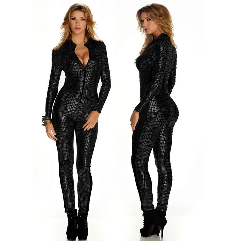 2018 New Sexy Women Snakeskin Catsuit Zipper Costume Faux Leather Jumpsuit Party Sexy Bar Pole Dance Costume Plue Size M LXL