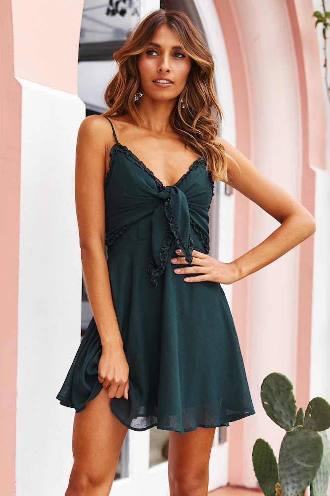 Женское сексуальное летнее платье с глубоким v-образным вырезом, женское модное Повседневное платье на тонких бретельках, женское платье с бантом и открытой спиной, однотонное мини-платье трапециевидной формы