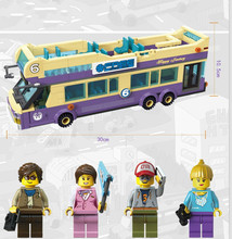 Enlighten Sightseeing Bus Tourist Attractions Guide Tourist Bricks Toys For Children Building Block Sets Compatible With Legoe