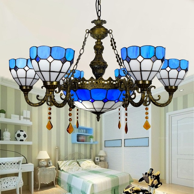Modern Mediterranean 6 8 Heads Living Room Dining Crystal Chandelier Tiffany Stained Glass Parlor Pendant
