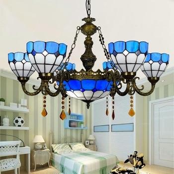 Moderna Mediterranea 6 8 teste soggiorno sala da pranzo Lampadario di Cristallo di vetro Tiffany Macchiato Parlor lampade a Sospensione 110-240 V