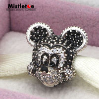 Authentic 925 Sterling Silver Original Sparkling Mickey Portrait Charms Bead Fit Pandora Bracelets Jewelry