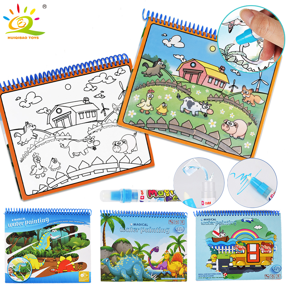 4 Styles Cartoon Dinosaur Water Drawing Book With Magic Pen Animal Zoo Coloring Painting Board Educational Doodle Children Toys