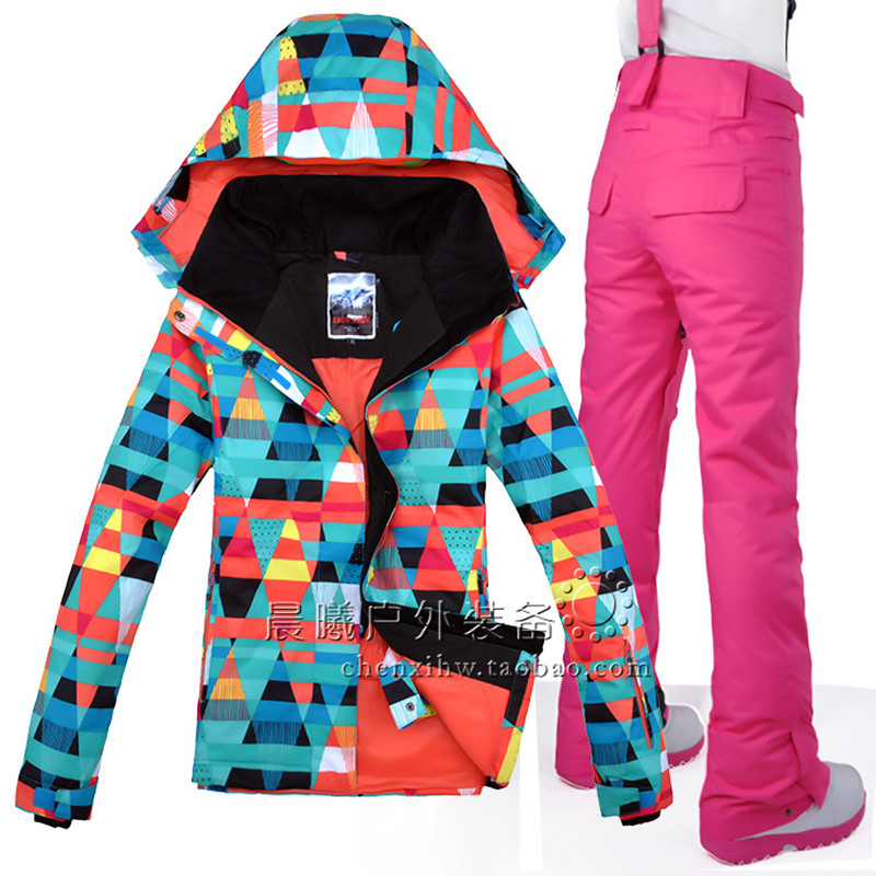 New Style Gsou Snow Women Jacket+Pants Windproof Waterproof Camp Riding Skiing Snowboard Thicken Thermal Female Warm Skiing Suit