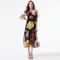 XF 2018 Rose Summer Dress High Quality Fashion Designer Batwing Sleeve Round Neck Slim Vintage Floral Gauze Printed Dress