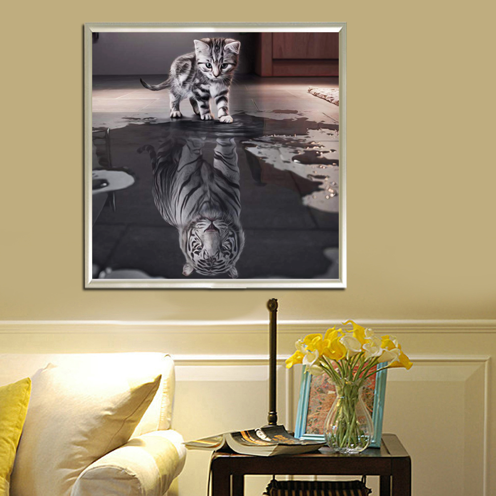 5D Cat\'s Whisper DIY Painting Craft Embroidery Animal Diamond Wall ...