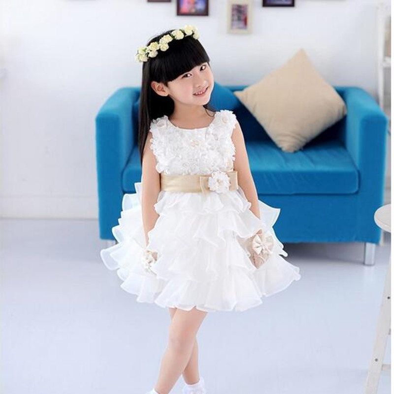 summer 2017 sleeveless waist chiffon flower baby dress girls 3D flower tutu layered princess wedding party baddlell kids dress чайник bekker koch со свистком 3 л bk s317