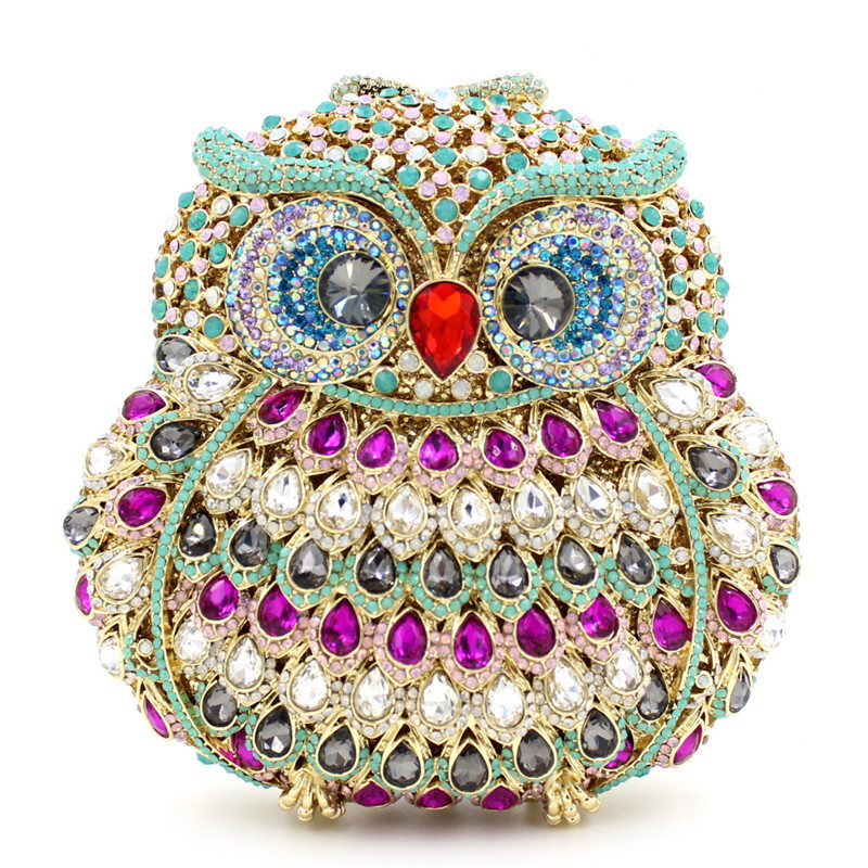 Animal Owl Evening Bag For Women Luxury Crystal Cocktail Party Purse Handbag High-end Full Diamond Lady Clutch Bags dames tassen europe tiger design hot selling high end luxury full diamond evening bag holding evening clutch handbag wedding party clutch bag