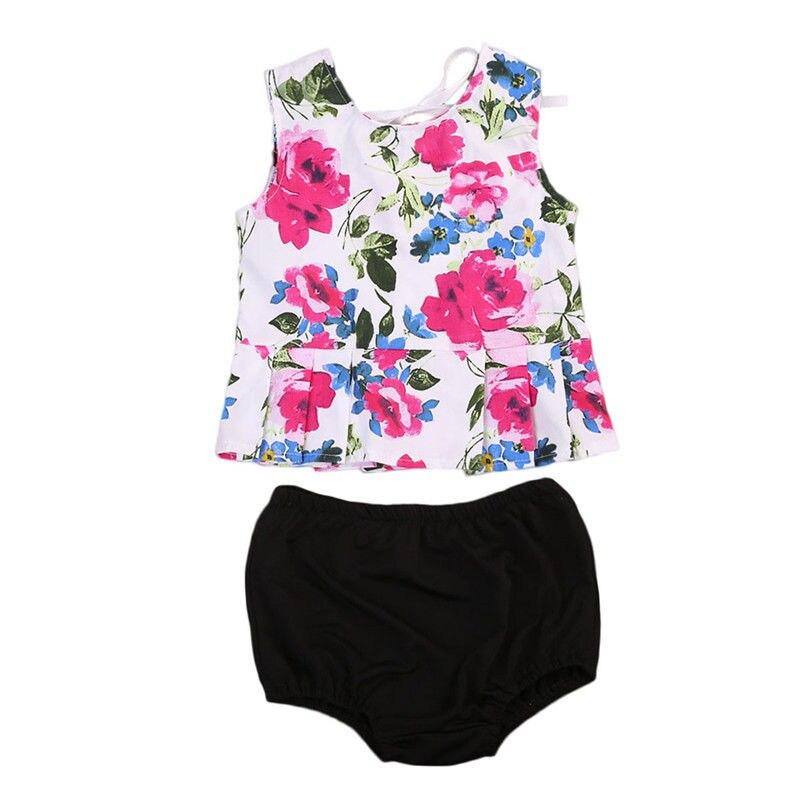 Summer Newborn Baby Girls Floral Vest Tops+Shorts PP Pants Clothing Set Joli Fille Outfits Clothes Sunsuit 0-24M