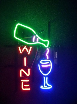 Wine Bottle Glass Neon Light Sign Beer Bar