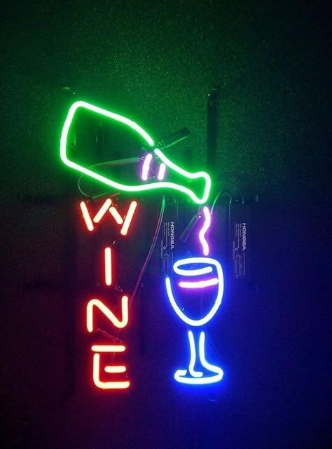 Wine Bottle Glass Neon Light Sign Beer Bar
