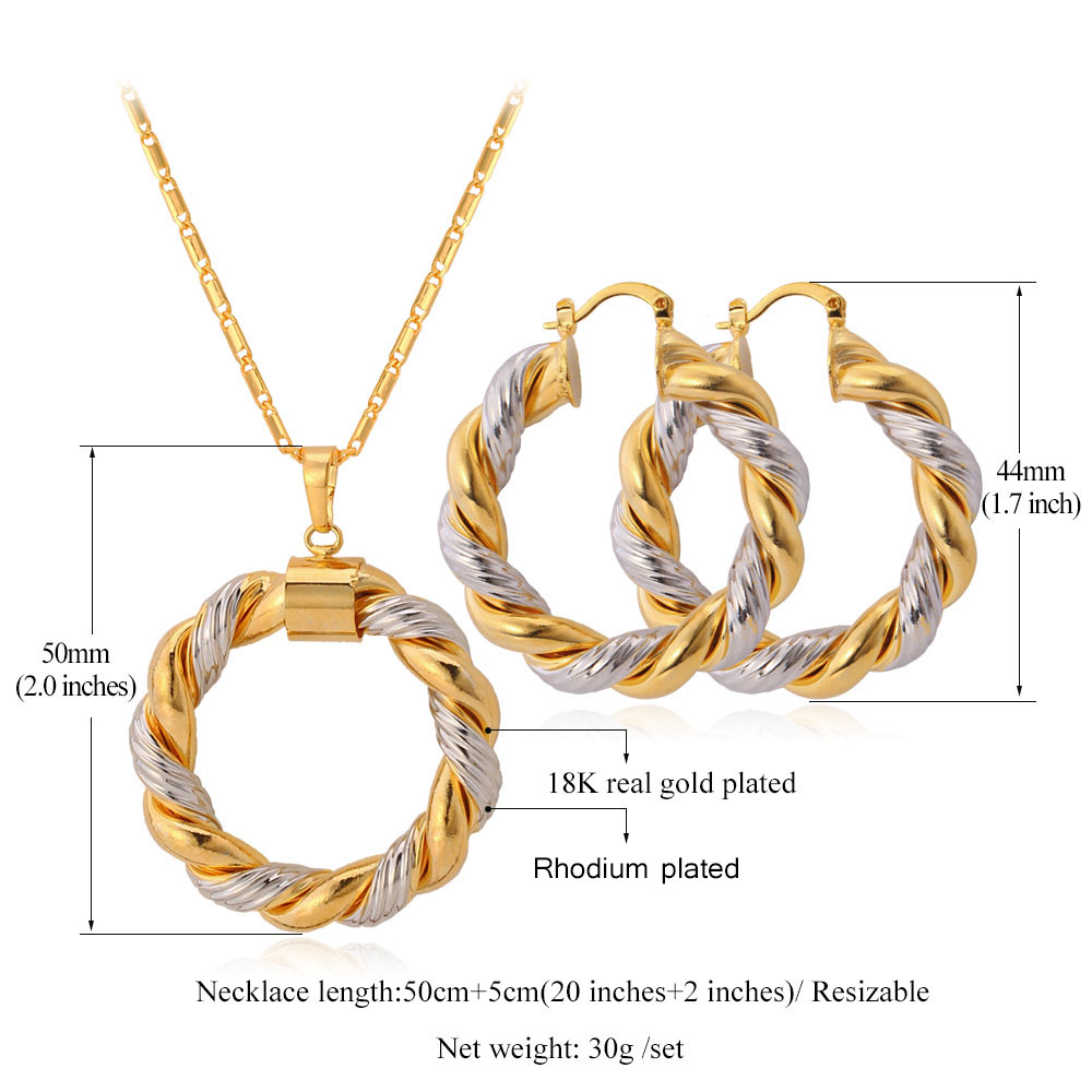 Aliexpress : Buy Starlord Two Tone Gold Color Chain Round Jewelry Set  Fashion Unique Hoop Earrings Pendant Necklace Set For Women Gift Pe683 From